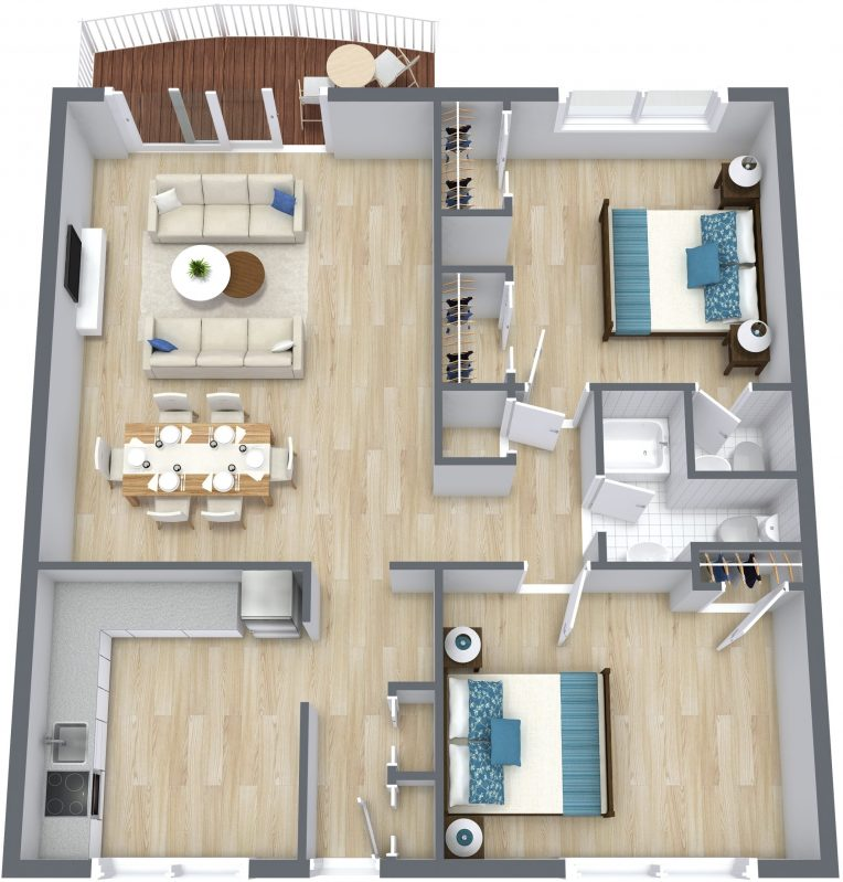 Example of a 3D Floor Plan rendering offered as add-on by XL Visions
